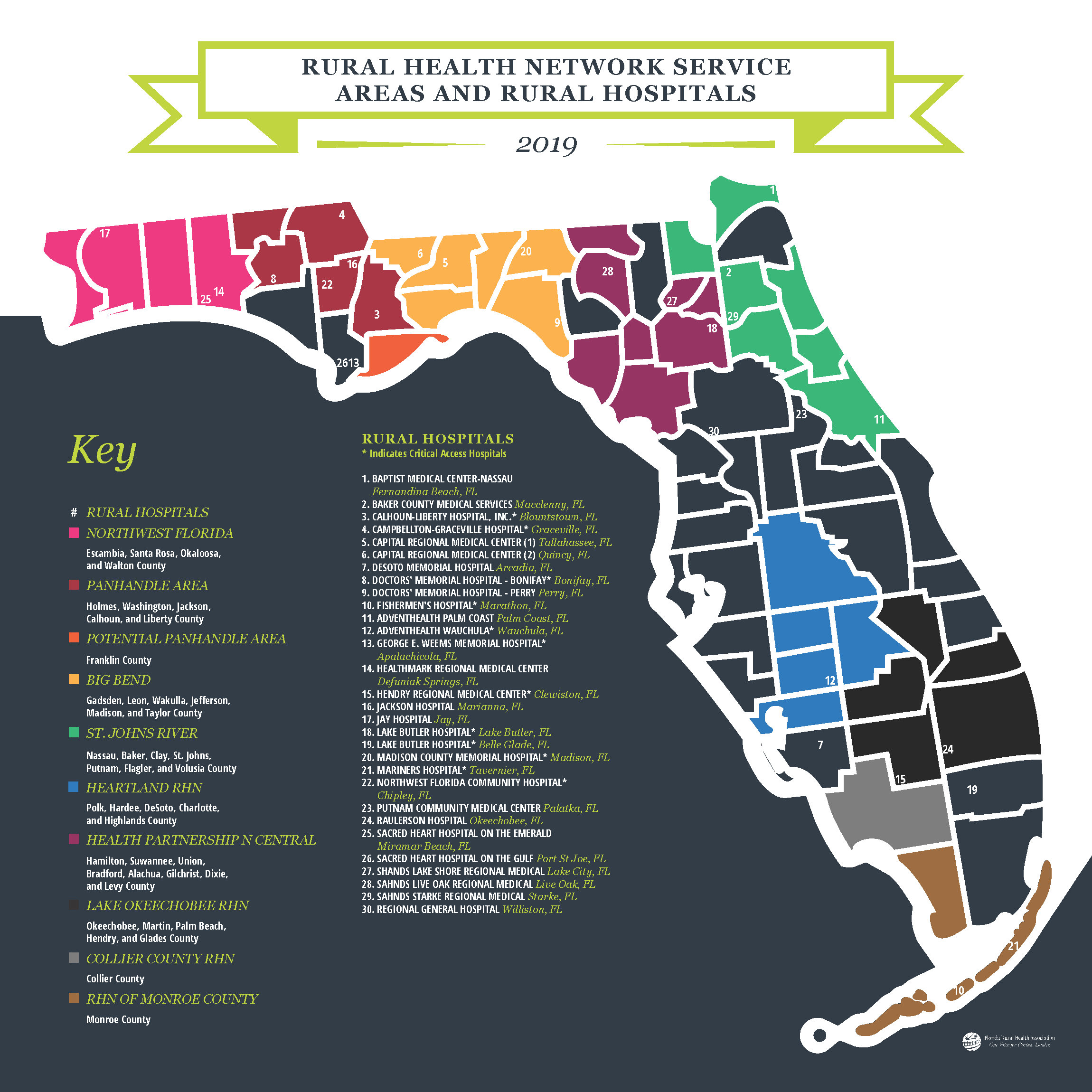 Map of Rural Health Network Service Areas & Rural Hospitals